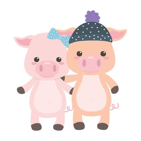 Couple of pigs cartoons design