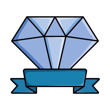 diamon rock jewerly with ribbon pop art style vector illustration design