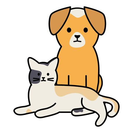 cute cat and dog mascots adorables characters  イラスト・ベクター素材