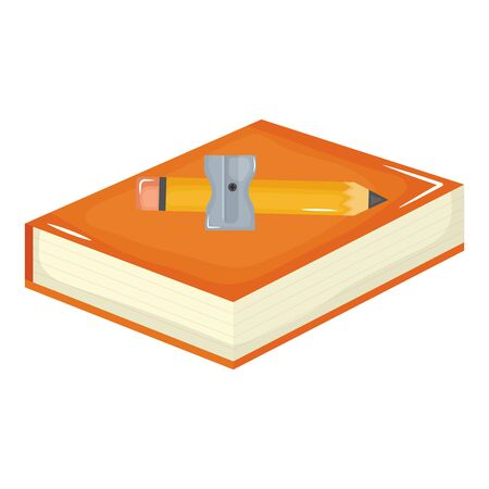 text book school supply with pencil and sharpener Stock Illustratie