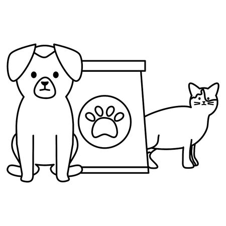cute cat and dog mascots with food bag