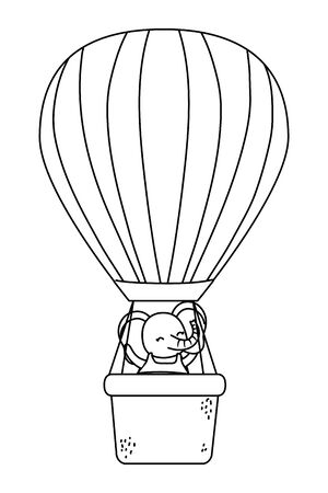 cute little elephant pet cartoon with air balloon