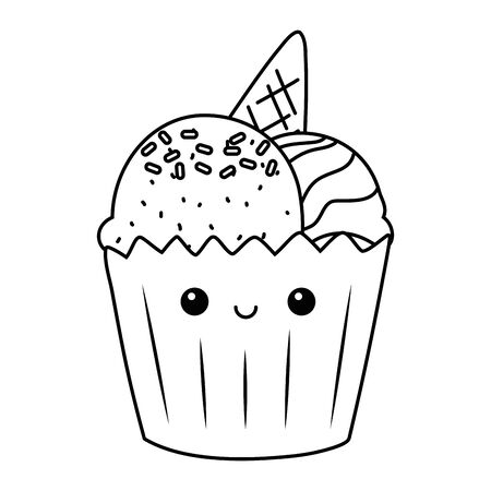 Cupcake dessert cartoon design vector illustration 일러스트