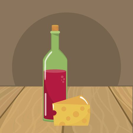 Isolated wine bottle with cheese design vector illustration  イラスト・ベクター素材