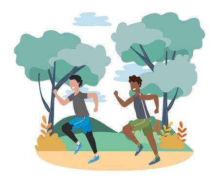 fitness sport train men running at outdoor scene cartoon vector illustration graphic design Фото со стока - 130072181