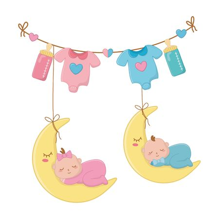 babys sleeping over the moon hanging on clothesline rope with baby clothes and feeding bottle vector illustration graphic design