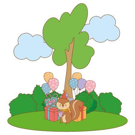 cute adorable animal squirrel birthday party outdoor scene festive cartoon vector illustration graphic design Иллюстрация