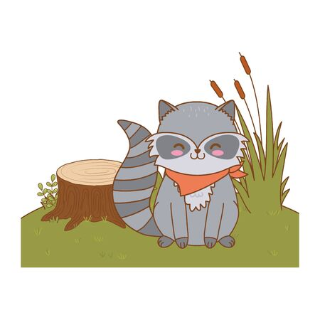 cute raccoon in the field woodland character vector illustration design