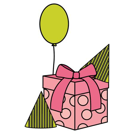 gift box with party hat and balloons helium floating vector illustration design