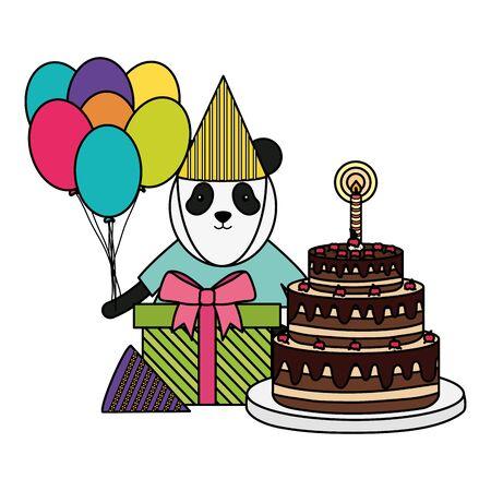 cute bear panda in birthday party vector illustration design