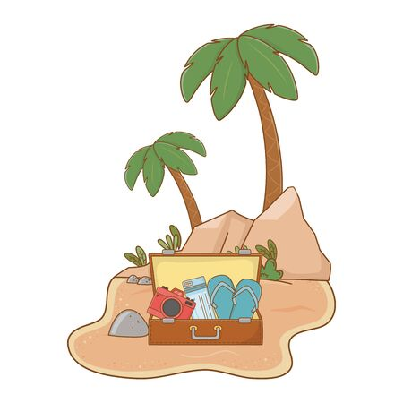 landscape beach on sand with suitcase camera hat flip flops and tickets summer and travel vector illustration editable design 写真素材 - 130072908