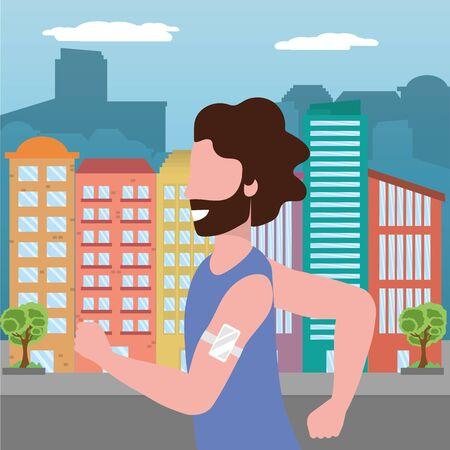 fitness sport train man running at urban scene cartoon vector illustration graphic design Иллюстрация