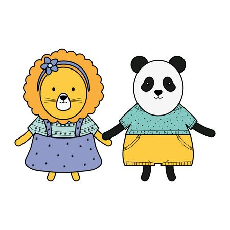 cute female lioness with bear panda vector illustration design