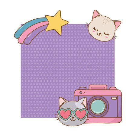 cat and photographic camera frame and shooting star icon cartoon vector illustration graphic design 向量圖像
