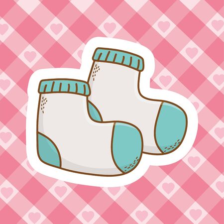 cute baby shower element socks cartoon vector illustration graphic design Ilustrace