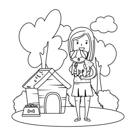 childhood happy child girl with cute little pet animal at outdoor scene cartoon vector illustration graphic design 일러스트