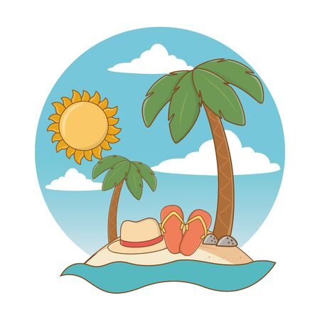 beach with hat and flip flops cartoon round label summer and travel vector illustration editable design 写真素材 - 130073743