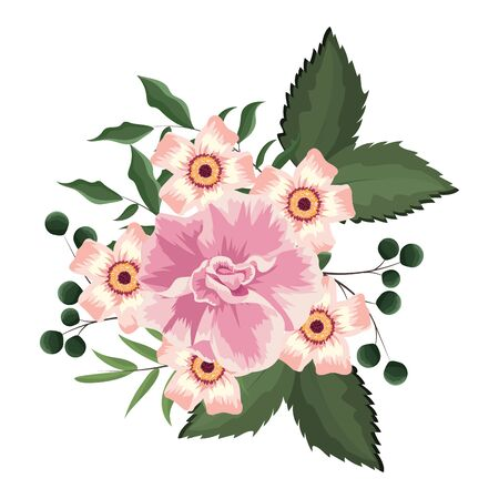 Spring flowers with leaves drawing vector illustration graphic design Illustration