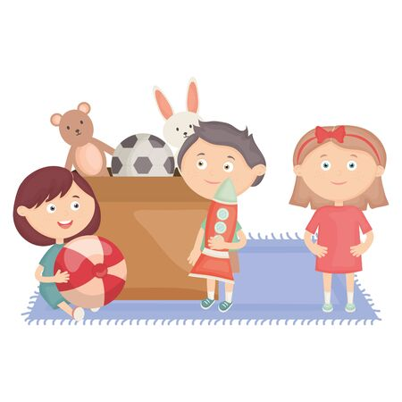 cute little kids group with toys box vector illustration design Stock Illustratie