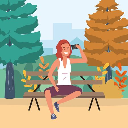 Millenial person smartphone sitting in park bench social media conversation redhead background vector illustration graphic design