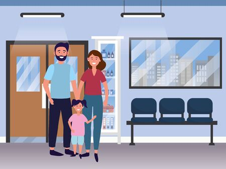 family baby care couple woman with man and child at medical hospital room cartoon vector illustration graphic design