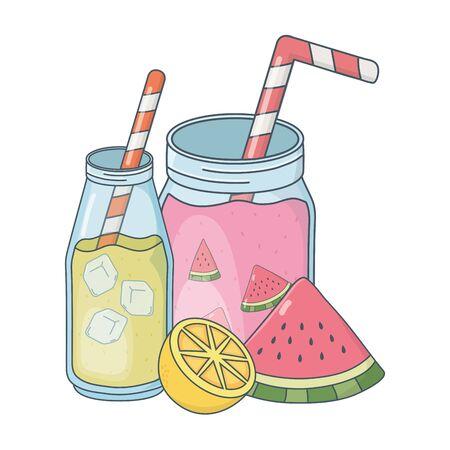 delicious tasty fresh fruits masons jars juices cartoon vector illustration graphic design