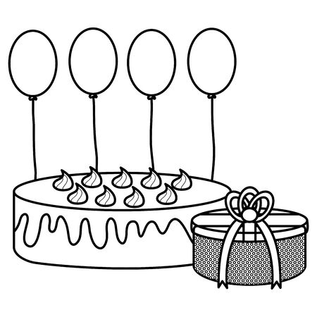 gift box with sweet cake and balloons helium floating vector illustration design Stock Illustratie