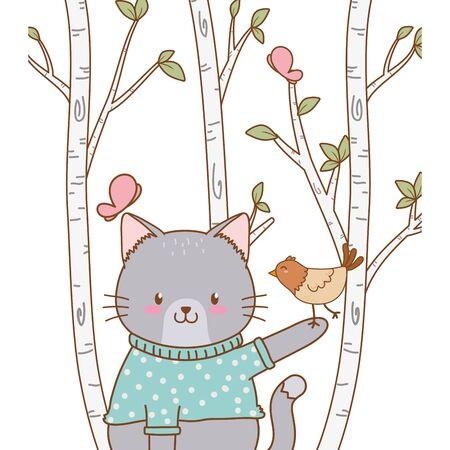 cute cat with bird woodland character vector illustration design Иллюстрация