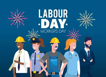 professional employers to labour day celebration vector illustration Banco de Imagens - 130073920