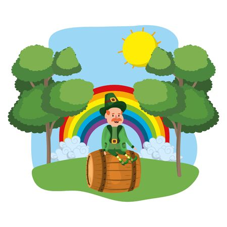 st patricks day leprechaun at nature park cartoon vector illustration graphic design