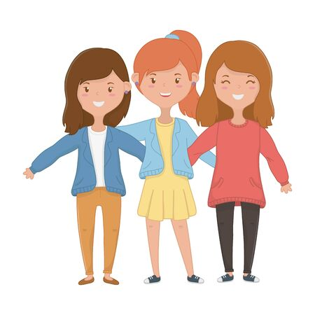 Teenager girls design, Friends female people young teen beautiful and woman theme Vector illustration