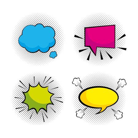 set pop art chat bubbles messages vector illustration