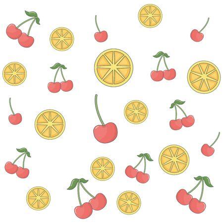 delicious tasty healthy fresh fruits pattern cartoon vector illustration graphic design