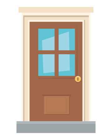 House door of wood design, frame entrance architecture doorway and interior theme Vector illustration