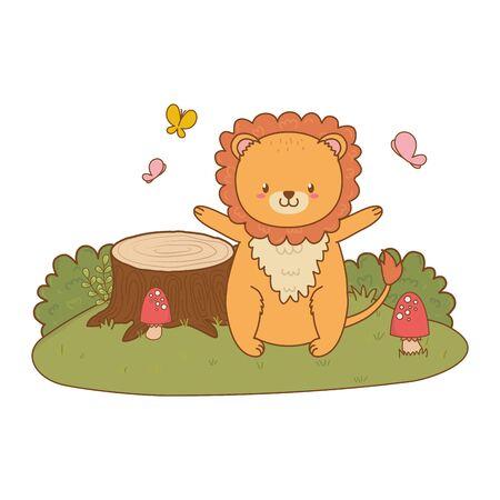cute lion woodland in the field character vector illustration design Foto de archivo - 130115235