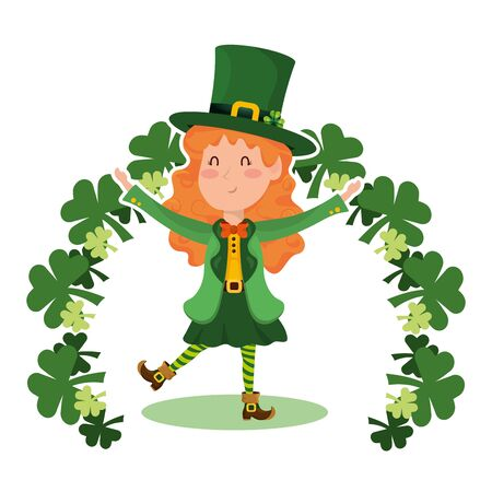 st patricks day elf with clovers cartoon vector illustration graphic design