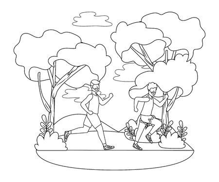 fitness sport train men running at outdoor scene cartoon vector illustration graphic design Иллюстрация
