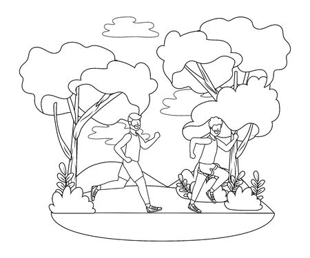 fitness sport train men running at outdoor scene cartoon vector illustration graphic design Фото со стока - 130115848