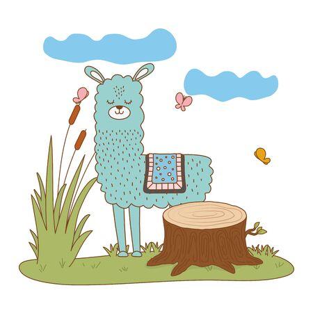 Llama cartoon design, Animal cute zoo life nature and fauna theme Vector illustration Illusztráció
