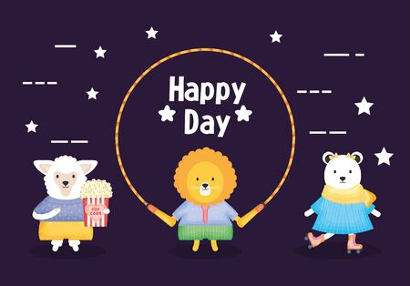 lion jumping rope and sheep with pop corn and polar bear in skates vector illustration