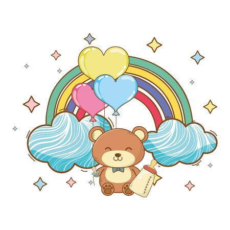 baby shower teddy holding bottle on clouds, rainbow, balloons and stars cartoon card isolated vector illustration graphic design
