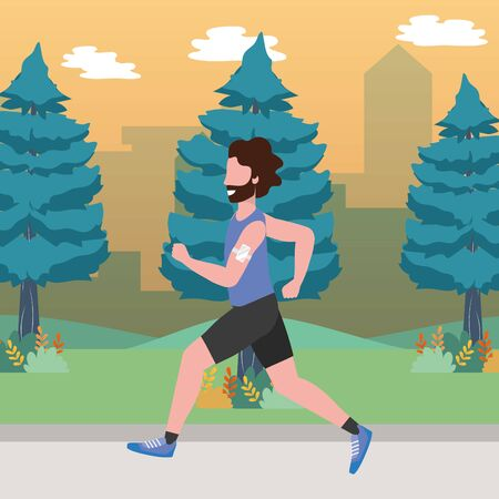 fitness sport train man running outdoor scene cartoon vector illustration graphic design Фото со стока - 130115682