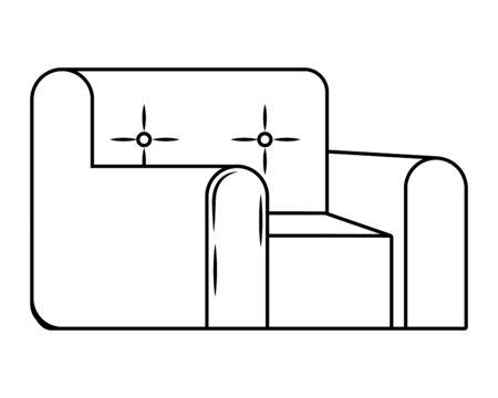 chair icon cartoon black and white vector illustration graphic design Ilustração
