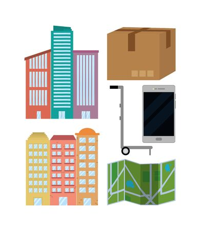 city delivery service items isolatedated icons vector illustration graphic design Illusztráció