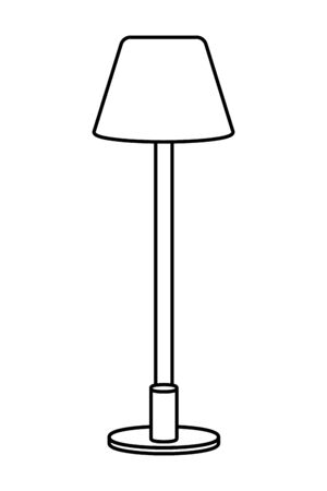 lamp icon cartoon isolated black and white vector illustration graphic design