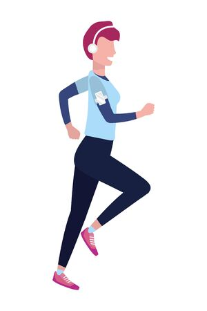 woman running with sportswear avatar cartoon character vector illustration graphic design Foto de archivo - 130133659