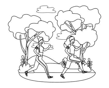 fitness sport women at outdoor scene cartoon vector illustration graphic design