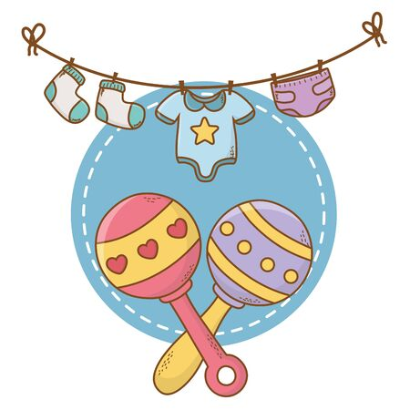 cute baby shower concept elements cartoon vector illustration graphic design Ilustrace