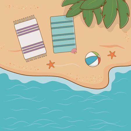 tropical beach airview scene vector illustration design Ilustração