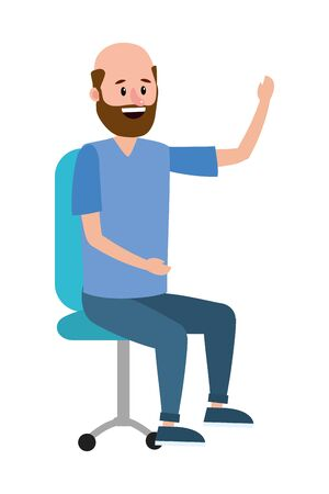 young sitting man at office chair cartoon vector illustration graphic design